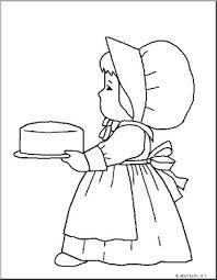 Coloring Page Thanksgiving Pilgrim Girl Abcteach