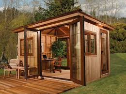 backyard office shed. office with an 81 square foot deck. this diy kit will only takes four days to assemble without the need of hiring a contractor, after all it\u0027s diy. backyard shed m