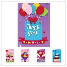 Teachers Birthday Card Children Handmade Greeting Cards Diy Christmas Thanksgiving Teachers Birthday Day New Year Party Gift Kindergarten 3d Card Kits 5 Styles