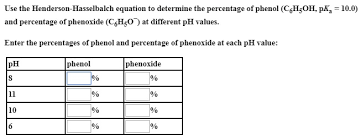 Henderson Hasselbalch Solved Use The Henderson Hasselbalch Equation To Determin
