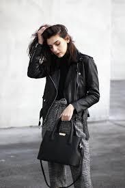 women in her black jacket