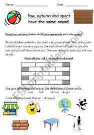 Phonics is a method of teaching kids to learn to read by helping them to match the sounds of letters, and groups of letters, to distinguish words. English Worksheets Phonics All And Al Words