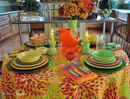 fiestaware table linens the little round table new fiesta linens calypso tablecloth