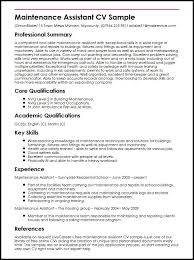 Good Qualifications For A Job Maintenance Assistant Cv Sample Myperfectcv
