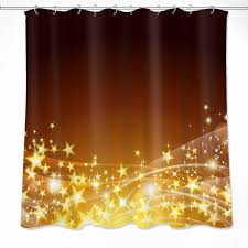 72 bathroom waterproof fabric shower curtain polyester 12 hooks bath accessory sets abstract black shade yellow glitter stars shower curtains