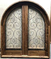rustic reclaimed solid lumber arched top double door iron glass u choose sizes
