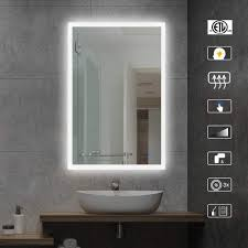 Wall Mirror With Lights Ai Lighting Bathroom Mirror With Lights Large Dimmable Led Makeup Vanity Mirror Wall Mount Mirror With Touch Button Horizontal Vertical Anti Fog