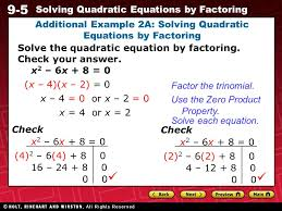 9 5 solving quadratic equations by factoring warm up