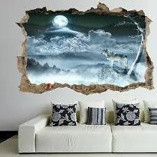 wolf moon night wall art stickers mural