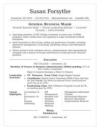 Sample College Student Resume Resumes For Summer Internship No