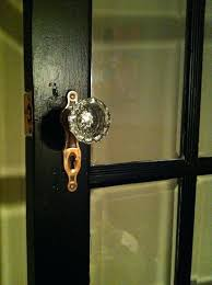 vintage glass door knobs with this skinny brass plate for old doors double closet