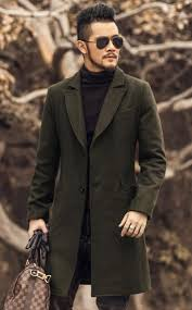 whole british style mens army green wool trench coat men long trench slim fit overcoat casual single ted long trench coat jacket wool trench coat