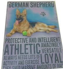 german shepherd dog humourous character metal shabby chic plaque dog lover gift