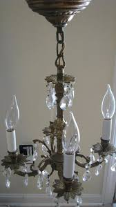 spanish brass crystal chandelier c1950 vintage free petite 4 arm 1761218817