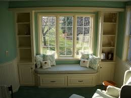 Decorations:Bay Window Seat Furniture With Backyard Pool View Closets And  Custom Cabinets With Seated