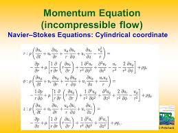 navier stokes equations cylindrical coordinate momentum equation incompressible flow