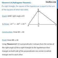 Pythagoras Theorem Chart Theorem 6 8 Pythagoras Theorem Proof Class 10 Chapter 6