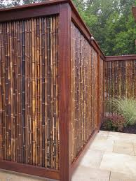 Traditional Backyard Decor with DIY Cheap Bamboo Privacy Fence Panel,  Reclaimed Bamboo Wood Screen Material