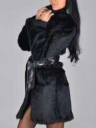 faux fur coat women black sash long sleeve winter overcoat no 2