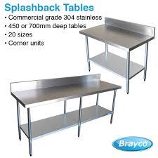 Stainless Steel Splashback Kitchen Work Tables Commercial Grade