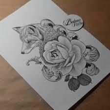 сделать татуировку лиса на бедро в городе санкт петербург по эскизу