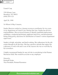 Recommendation Letter For Colleague Sample Template Of Recommendation Reference Letter For