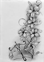 Kresba Uhlem Předloha Pro Tetování Na Záda Lilie A Váhy