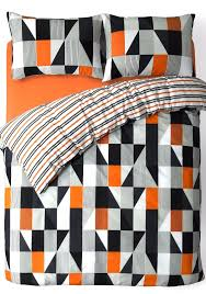 black grey orange trendy striped design reversible bedding duvet quilt cover set