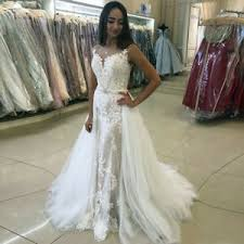 Details About Detachable Train Boho Wedding Dress With Moved Skirt Lace Bridal Gown 2 4 6 8 10