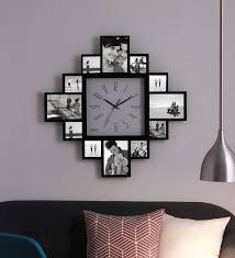 black mdf 28 x 2 inch collage photo frame with clock 12