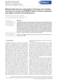 PDF) Relationship between atmospheric blocking and cold day extremes in  current and RCP8.5 future climate conditions over Japan and the surrounding  area