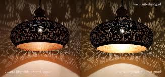 Filigrainlamp Zwart Met Koper Of Zwart Met Goud Zwarte Oosterse Lamp