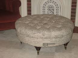 round fabric ottoman.  Ottoman Custom Made Round Script Fabric Ottoman With Tufting E