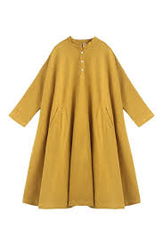 Spring Yellow Casual Cotton Linen Dresses Long Sleeve Shirt Dress.