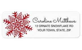 Red Folk Art Snowflake Christmas Label Zazzle Com