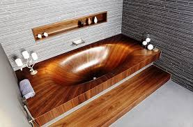 image of wooden bathtub for