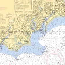 Connecticut Fairfield Nautical Chart Decor