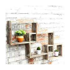country rustic 3 tier floating box shelves decorative wood wall mounted display shelf brown reclaimed planks