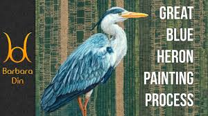 mini great blue heron bird acrylic painting process by barbara din