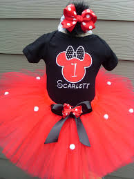 search girls ff birthday minnie mouse red and black tutu set