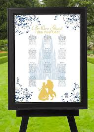 Digital Blue And Gold Beauty And The Beast Wedding Seating