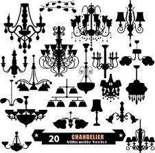 ornate chandelier vector silhouette set