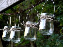 outdoor candle lighting. Four Rustic Mini Jar Lantern Candle Hanging Vase Outdoor Lighting Wedding Woodland Baby Shower Favor Decor