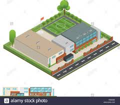 3d Modern Office Or School Building And Environment With