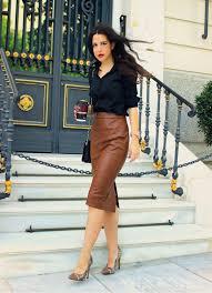 black dress shirt brown leather pencil skirt snakeskin heels with brown cap toe and black bag