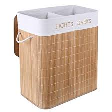HOMFA Bamboo <b>Laundry Basket</b> with 2 Compartments and Dark ...
