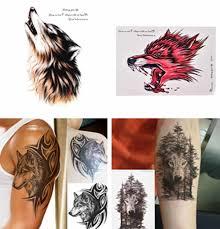 1 шт водостойкая временная татуировка наклейка волк лес животное