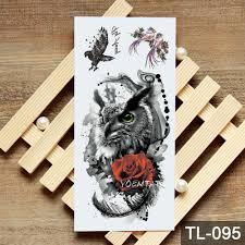 переброска воды акварельный эскиз роза сова временная татуировка наклейка