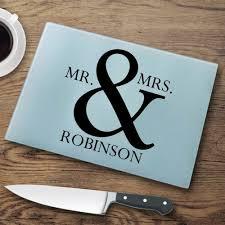 personalized glass cutting boards mr mrs cutting board