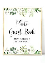 Polaroid Guest Book Sign Template Greenery Photo Guest Book